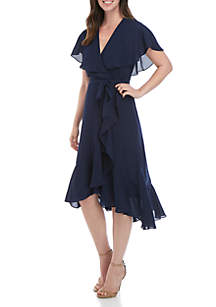 Short Sleeve Solid Chiffon Faux Wrap Dress