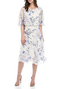 Textured Chiffon Blouson Floral Dress
