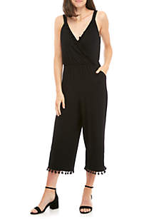 Cropped V-Neck Jumpsuit with Tassels