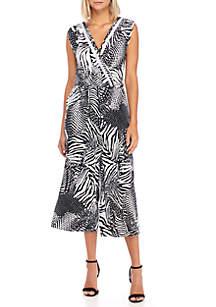 V-Neck Tropical Printed Jumpsuit