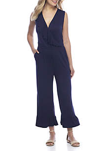 Maxi Sleeveless Ruffle Trim V-Neck Jumpsuit
