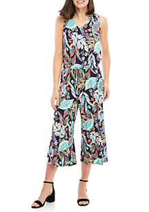 Crop V-Neck Tropical Print Jumpsuit