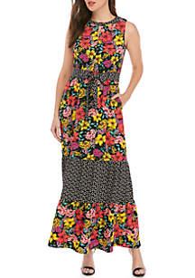 Spense Sleeveless Mixed Print Maxi Dress