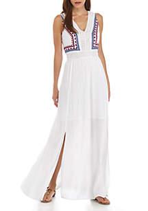 Sleeveless Embroidered Crinkle Maxi Dress