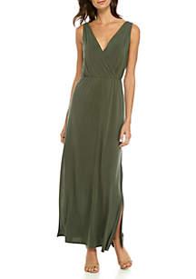 Cross-Back Knit Maxi Dress