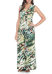 Maxi Sleeveless V-Neck Tropical Print Dress
