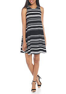 Sleeveless Stripe Trapeze Tie Back Dress