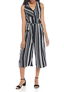 Sleeveless Stripe Cropped Jumpsuit