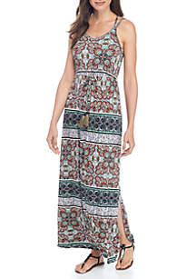 Maxi Print Halter Crossback Dress