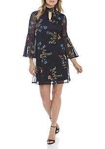 3/4 Bell Sleeve Mock Neck Mesh Floral Dress