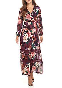 Long Sleeve Floral Wrap Maxi Dress