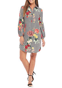 Ball Sleeve Floral Houndstooth Dress