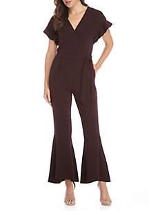 Short Ruffle Sleeve V-Neck Wrap Jumpsuit