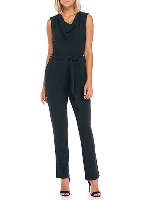 Sleeveless Drape Neck Jumpsuit with Pearls