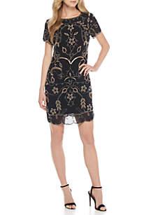 Short Sleeve Scallop Beaded Short Dress