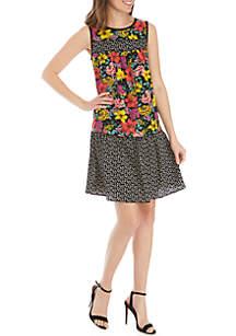 Spense Sleeveless Mixed Print Babydoll Dress