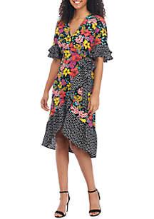 Spense Short Sleeve Mixed Print Wrap Dress