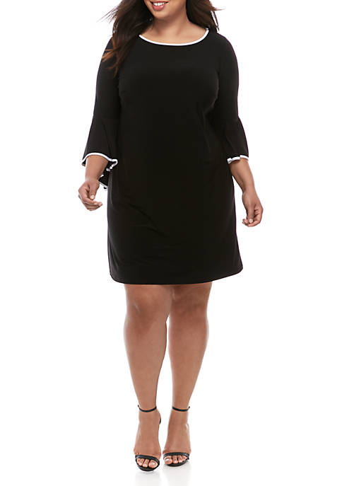Plus Size Sheath Dress with Bell Sleeves