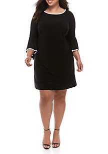 IVY ROAD Plus Size Sheath Dress with Bell Sleeves