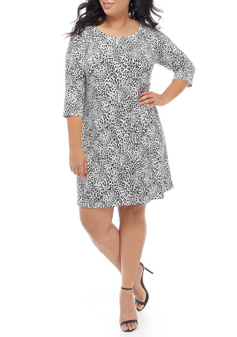 IVY ROAD Plus Size 3/4 Sleeve Leopard A-Line