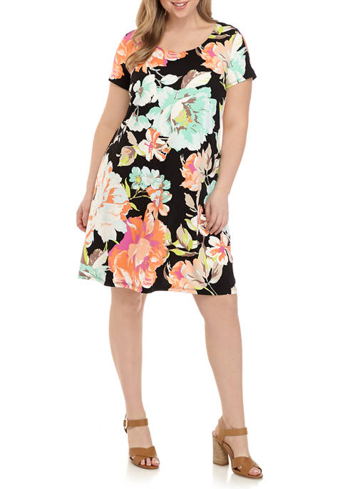 JBS Plus Size Floral Short Sleeve Shift Dress