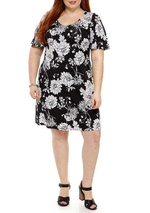 Plus Size Floral V-Neck Split Sleeve Dress