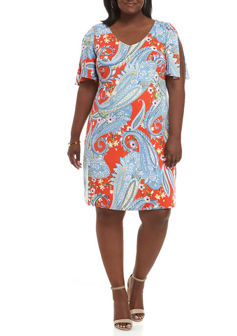 JBS Plus Size Paisley V-Neck Split Sleeve Dress