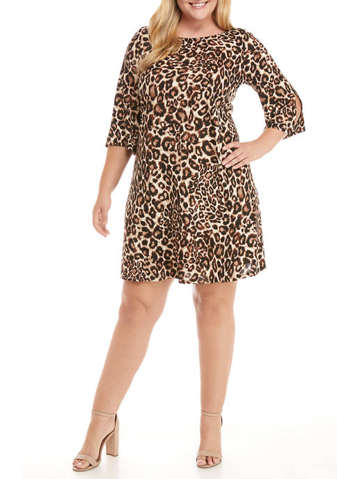 IVY ROAD Plus Size 3/4 Split Sleeve Animal