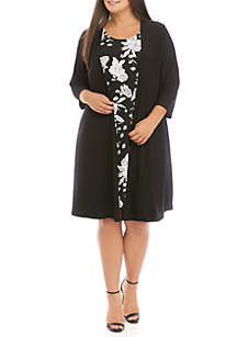 IVY ROAD Plus Size Puff Print Dress with Solid Jacket