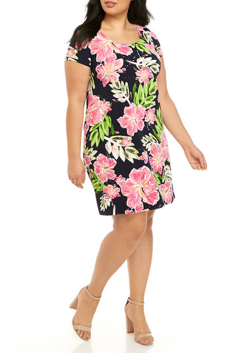 IVY ROAD Plus Size Short Sleeve Floral Shift