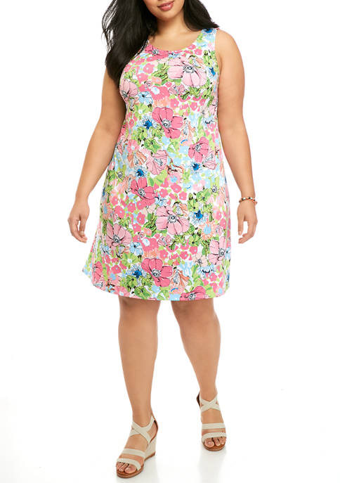 JBS Plus Size Floral Sleeveless A Line Dress