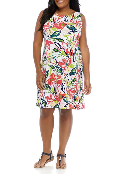 Plus Size Floral Sleeveless Bar Back A Line Dress
