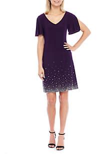 Split Sleeve Jewel Hem Short Dress