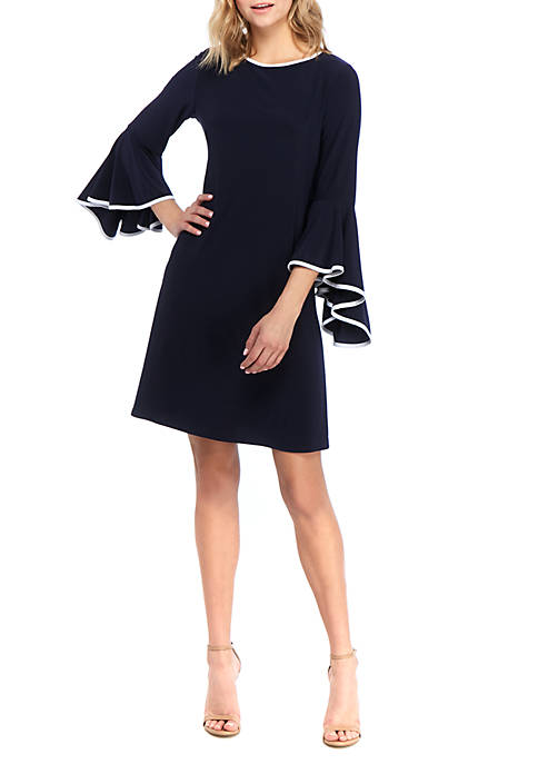 Womens Bell Sleeve Shift Dress with Piping