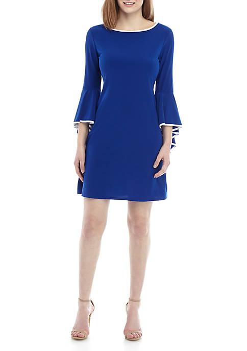 MSK Womens Bell Sleeve Shift Dress with Piping