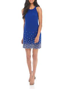 Halter Neck Jewel Hem Short Dress