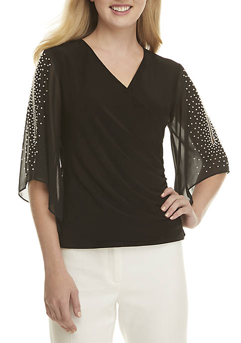 MSK Side Ruched Top with Pearl Chiffon Sleeves