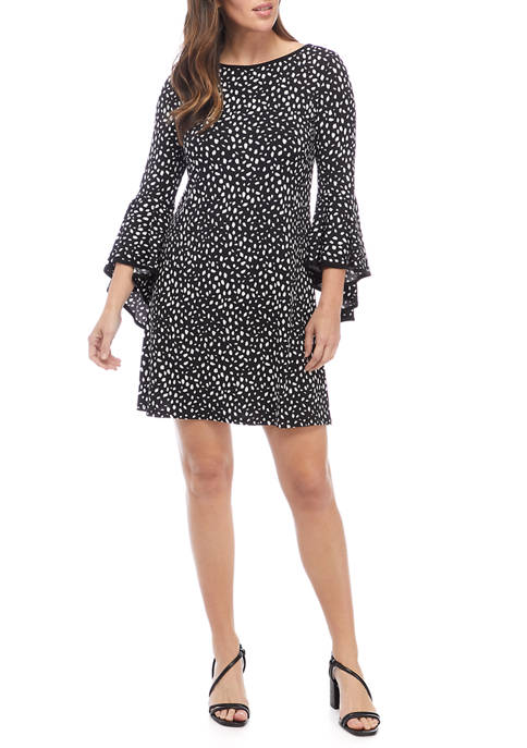 IVY ROAD Womens Animal Print Bell Sleeve A-Line