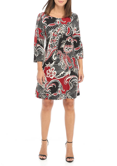 Womens Paisley Puff Print Split Sleeve Dress