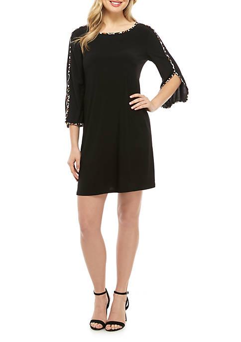 MSK Split Sleeve Leopard Print Piping Dress