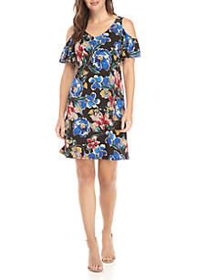 EDV Floral Print Cold Shoulder Dress