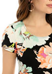 Womens Short Sleeve Large Floral A Line Dress