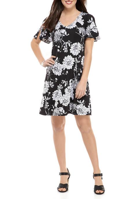 Womens Floral V-Neck Split Sleeve Dress