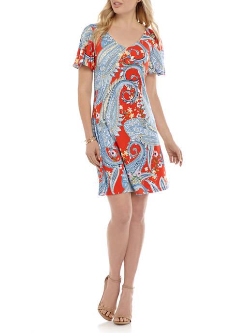 Womens Paisley V-Neck Split Sleeve Dress