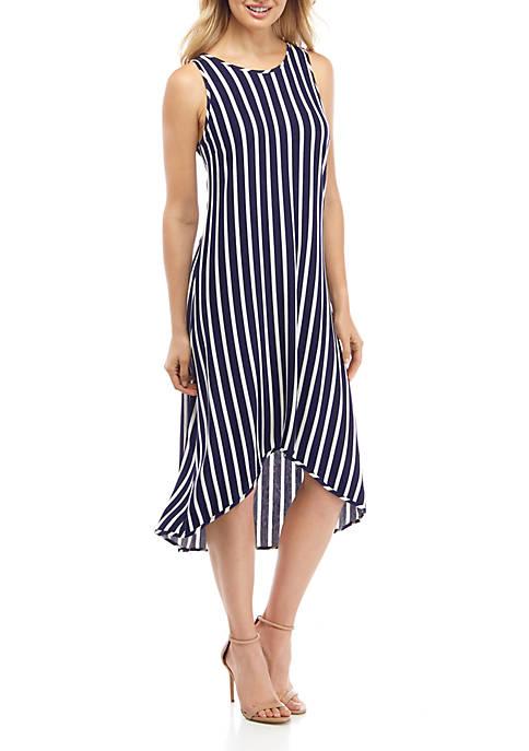 IVY ROAD Womens Sleeveless High Low Striped Dress