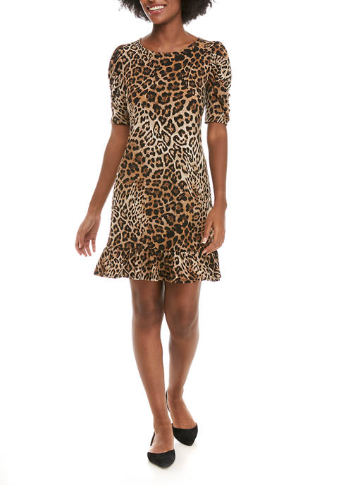 IVY ROAD Womens Elbow Ruched Sleeve Leopard Flounce