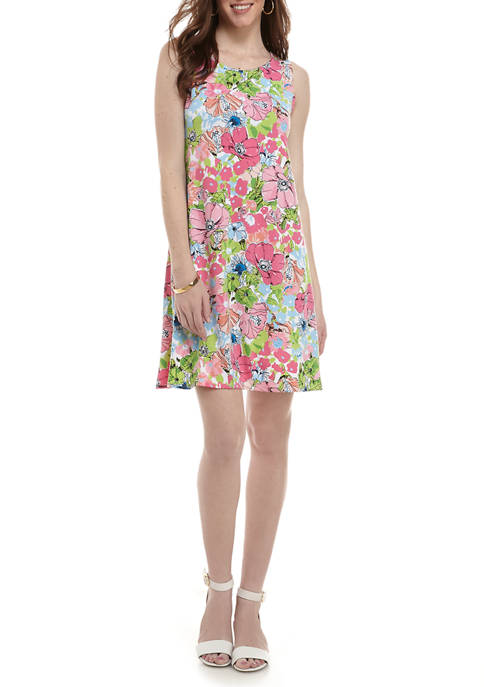Womens Floral Sleeveless Bar Back A Line Dress