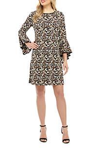MSK Knit To Woven Leopard Print Dress