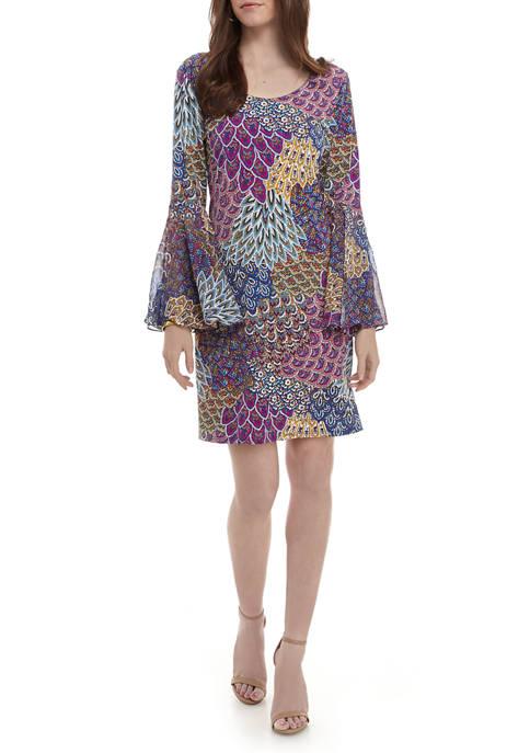 Womens Flare Sleeve Peacock Print Shift Dress
