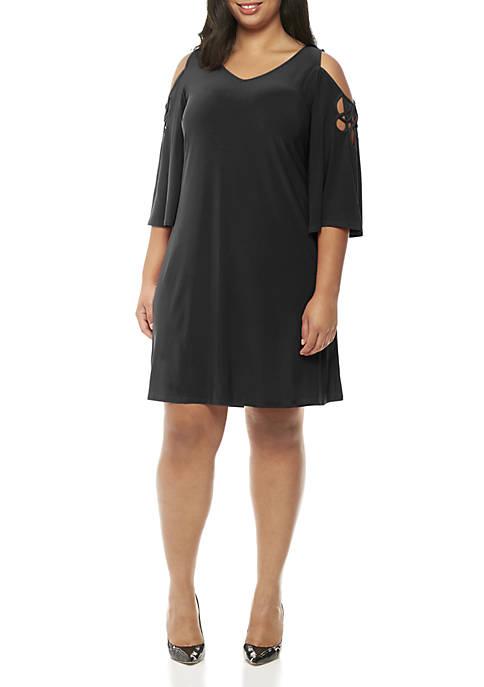 MSK Plus Size 3/4 Cold-Shoulder Sleeve Soutache Top